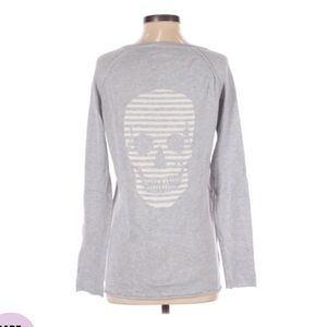Skull Cashmere Skull head V neck sweater XS grey